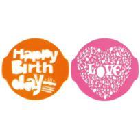 Pavoni - Lot de 2 pochoirs Birthday et Love