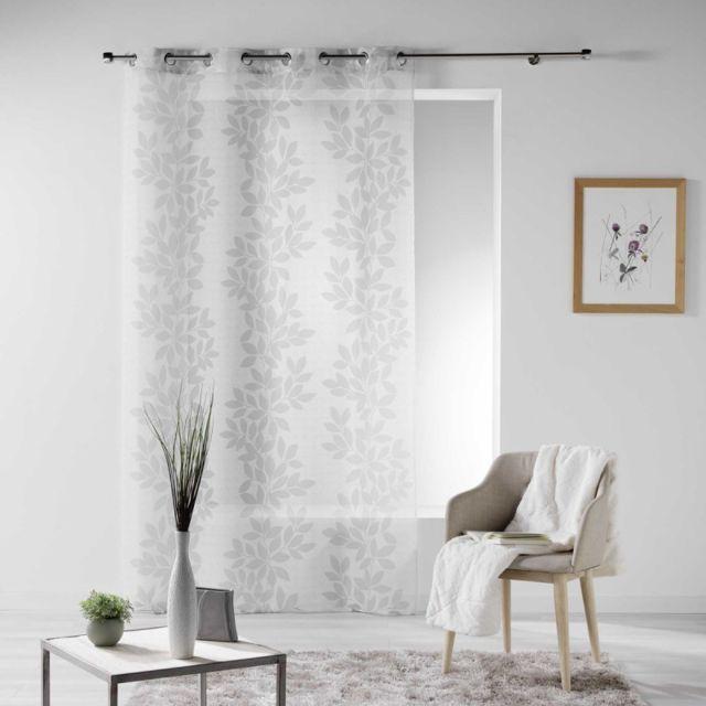 """paris prix - rideau voilage """"farandole"""" 140x280cm blanc - pas cher"""