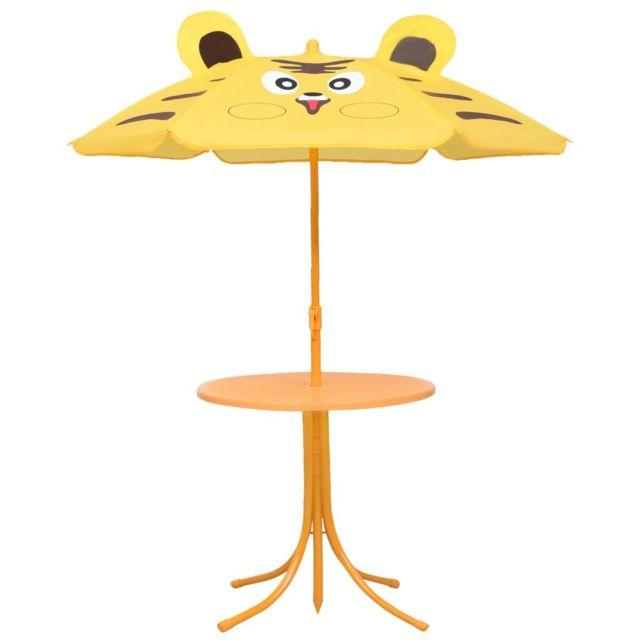 Icaverne Salons de jardin serie Jeu de bistro avec parasol pour enfants 3 pcs Jaune