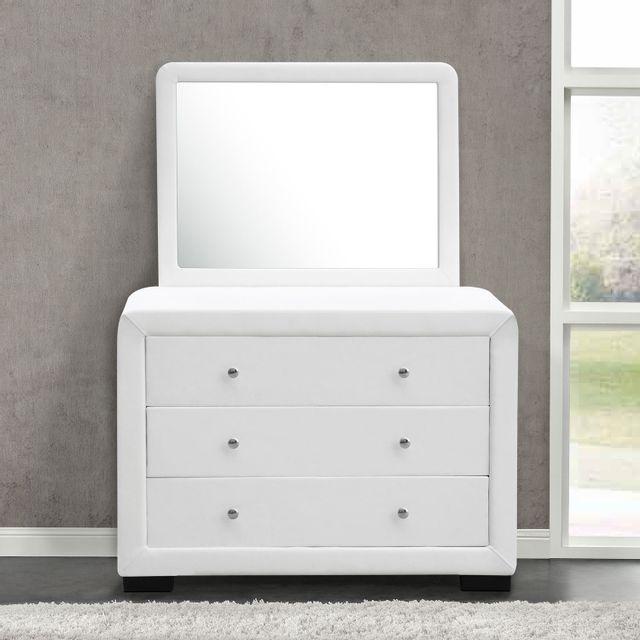 CONCEPT USINE Lucay reflet blanc : commode de chambre 3 tiroirs + 1 miroir en simili blanc