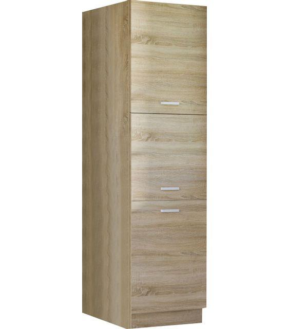 Comforium armoire colonne de cuisine style contemporain 60 cm avec 3 portes coloris sonoma - Colonne cuisine 30 cm ...