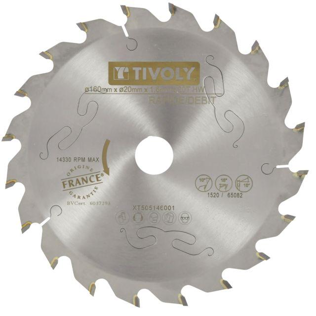 165 x 20 mm 16 dents Lame de scie pour bois de construction