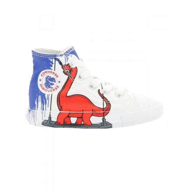 Converse - Baskets imprimé blanc dinosaure hautes en toile ...