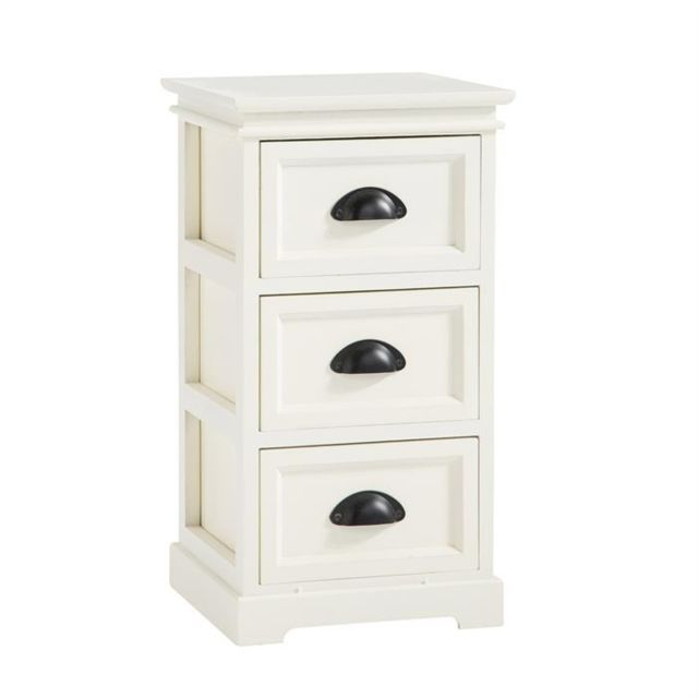 idimex table de chevet landhaus table de nuit 3 tiroirs en bois de paulownia style