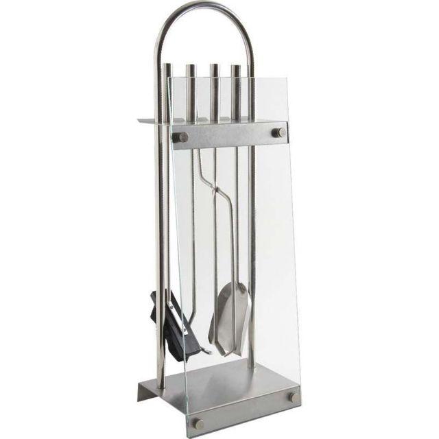 AUBRY GASPARD Serviteur de cheminée en métal et verre 4 accessoires