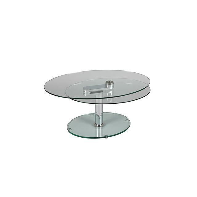Table basse 2 plateaux ovales en verre trempé Glass