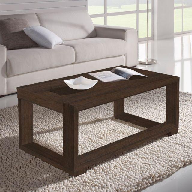 magasin d'usine 69035 0f209 Table basse relevable Chêne foncé - Salma