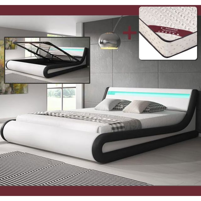 DESIGN AMEUBLEMENT Lit coffre design Parisina – blanc et noir 140x190cm, avec matelas Pro Nature