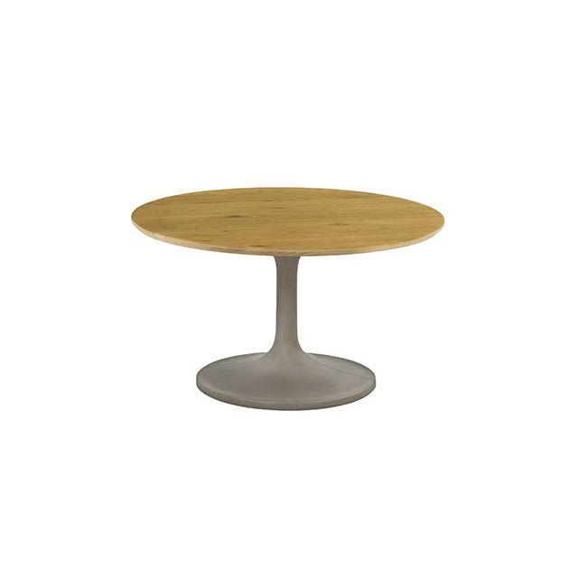 Table basse ronde 76cm plateau bois - Beton
