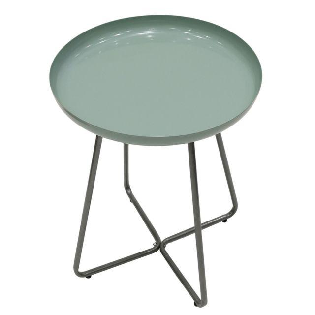 The Home Deco Factory Table d'appoint en métal design Glossy - Diam. 40 x H. 48 cm - Vert d'eau