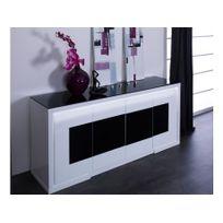 Marque Generique - Buffet Kibo - 4 portes - Mdf et verre trempé - Blanc et noir - Leds