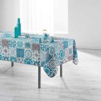 Douceur D'INTERIEUR - Nappe de table antitache 150x240cm Persane Bleu