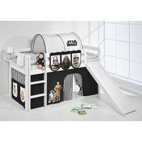 Lilokids - Lit surélevé ludique Jelle 90 x 190 cm Star Wars noir blanc laqué - avec toboggan et rideaux