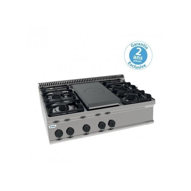 Materiel Chr Pro Plaque de cuisson - top 4 feux vifs gaz + 1/2 plaque coup de feu à poser - gamme 700 - module 350 - Tecnoinox - 700