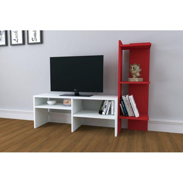 Homense Meuble Tv Design Emir Blanc Et Rouge Pas Cher Achat