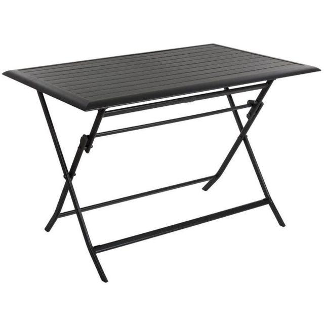 Pegane - Table pliante rectangulaire en Aluminium coloris graphite ...