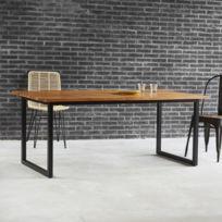 Table A Manger En Bois De Teck Et Metal 8 Couverts