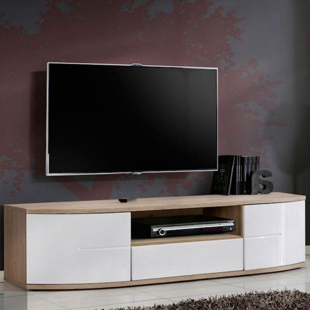 paris prix meuble tv design ontario 150cm blanc pas cher achat vente meubles tv hi fi. Black Bedroom Furniture Sets. Home Design Ideas