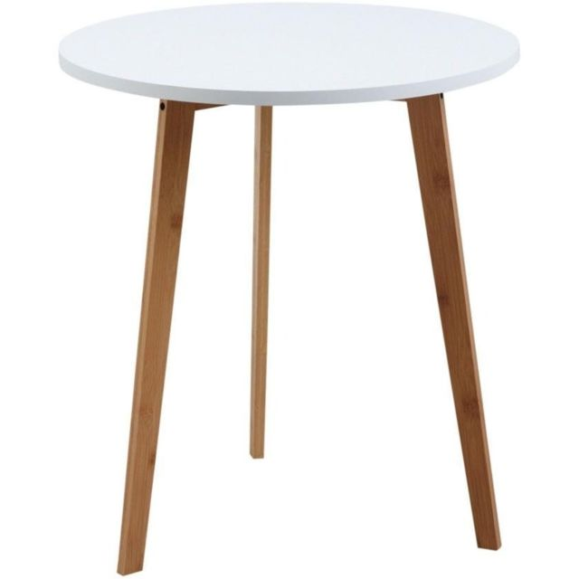 AUBRY GASPARD Table d'appoint ronde en bois et MDF laqué blanc
