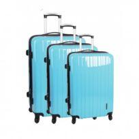 Madison - Madisson Bagage Lot de 3 valises - 4 Roues - Polycarbonate - Vernis - Bleu