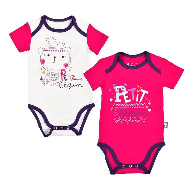 be706117bbdf4 Petit Beguin - Lot de 2 bodies bébé fille manches courtes Little Bear Girl  - Taille