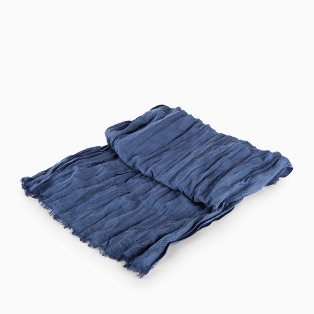 0b13650001d Azzaro - Chèche bleu rayé en coton homme Bleu Fonce - pas cher Achat   Vente  Echarpes - RueDuCommerce