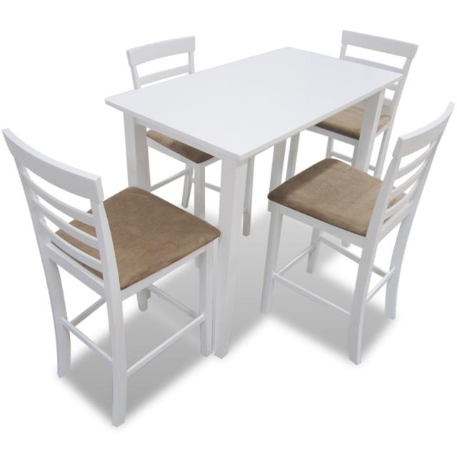 Vidaxl Set table et 4 chaises de bar en bois coloris blanc