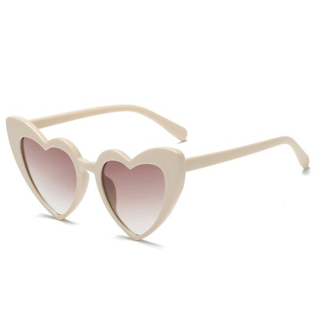 Wewoo - Lunettes de soleil Beige pour femmes Lunettes de polarisées en  forme de coeur Uv400 95391b0ef43b