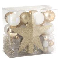 Feerie Christmas - Kit de décoration pour sapin de Noël - 44 Pièces - Or et blanc