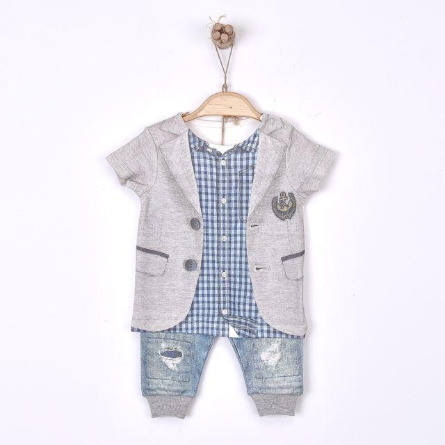 ea9ac7232e44b ... Sevira Kids - Ensemble bébé garçon 2 pièces t-shirt et pantalon en coton  biologique ...