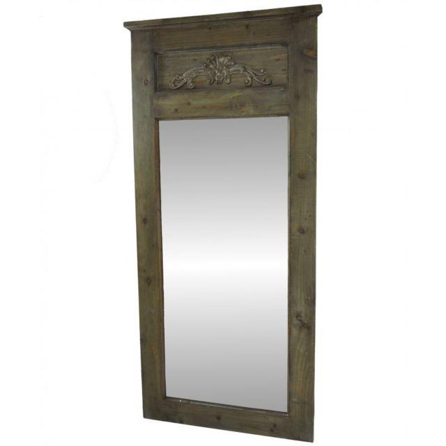 L'HÉRITIER Du Temps Grand Miroir Trumeau de Cheminée ou Glace d'Entrée en Bois avec Frise 4x66x141cm