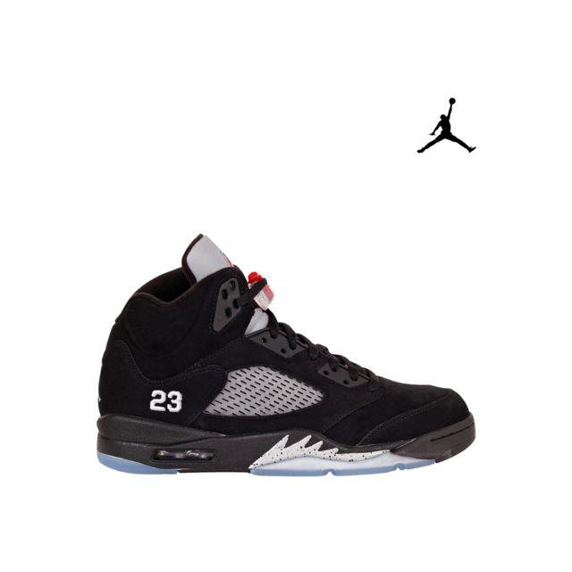 Soldes Jordan - Nike Air 5 Retro V Metallic Silver 136027-010 black/varsity red-mtllc silver - 44 Noir - pas cher Achat / Vente Baskets homme - ...