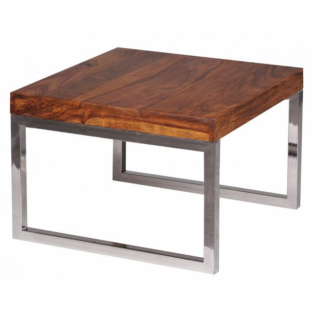 COMFORIUM   Table Basse 60 Cm En Bois Massif Sheesham Avec Piétement Chromé  Multicolore   60cm