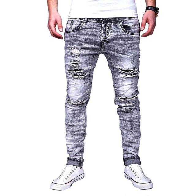 7db9ba443 Justing - Jeans homme slim fit déchiré Jeans 2048 gris - pas cher ...