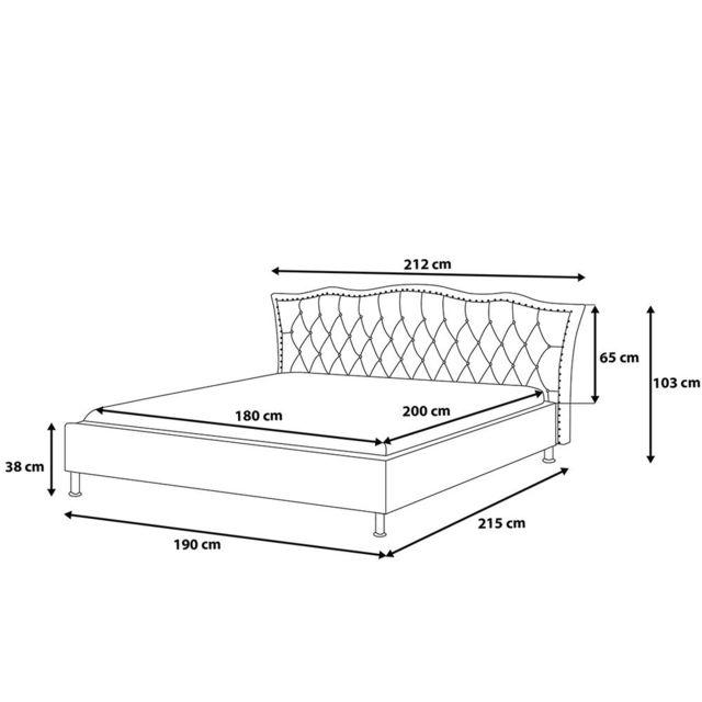 BELIANI - Lit design en cuir - lit double 180x200 cm - Metz - sommier inclus - blanc 180cm x 200cm