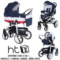Poussette Combinée Trio 3 en 1 HT2 2018 - Landau, poussette promenade, siège auto Groupe 0 - Nombreux coloris - Livrée avec ses accessoires