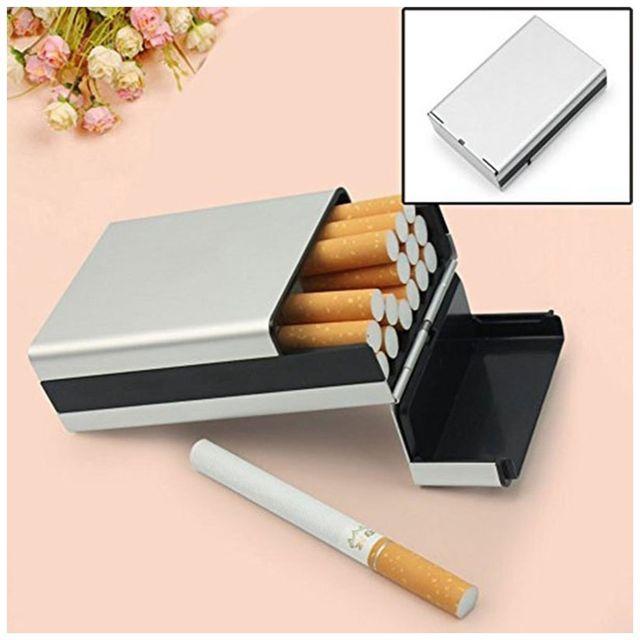 Alpexe Cache paquet de cigarette en Aluminium ouverture automatique Gris