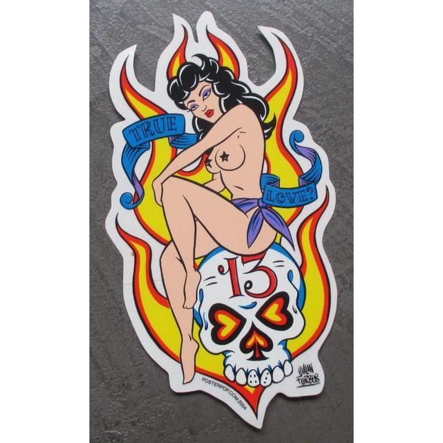 Universel Sticker pin up assises sur crane 13 flamme true love rockab