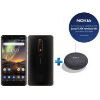 NOKIA - 6.1 - Noir + Enceinte intelligente Google Home mini - Charbon