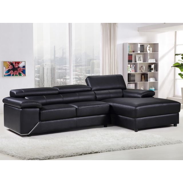 habitat et jardin canap d 39 angle cuir reconstitu pvc london 4 places noir angle droit. Black Bedroom Furniture Sets. Home Design Ideas