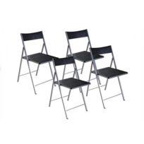 Inside 75 - Belfort Lot de 4 chaises pliantes noir