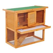 PAWHUT - Clapier à lapin cage à lapin 2 étages plateau coulissant rampe et toit ouvrant 90L x 45l x 80H cm neuf 68