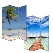 Mendler - Paravent / cloison de séparation M68, 3 pans, 120x180cm, motif plage