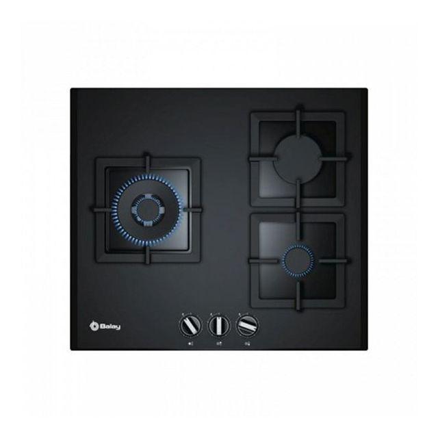Totalcadeau Plaque au gaz avec 3 cuisinières 8000W 60 cm Noir Verre - Plaque de cuisson cuisine
