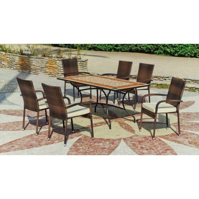 HEVEA JARDIN 1 table mosaïque 200 tons brique et beige + 6 fauteuils résine tressée avec coussins