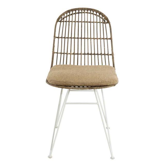 Lot de 2 chaises urban rotinkubu et métal blanc BRISBANE