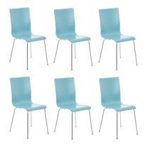 Decoshop26 - Lot de 6 chaises de cuisine en bois bleu et métal Cds10264