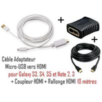 Cabling - cable Adapter Mhl to Hdmi Adapter - adaptateur audio/vidéo - Mhl - 2 mètres + coupleur Hdmi + cable Hdmi 10M