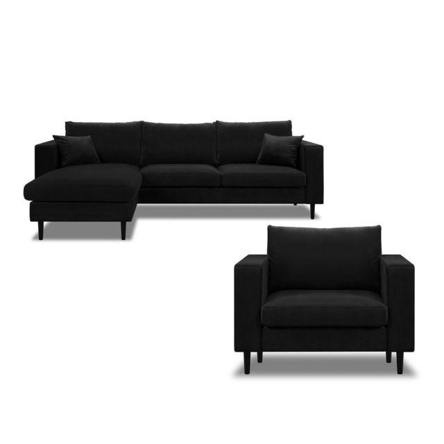 AXE DESIGN Canapé d'angle et Fauteuil en velours avec coussins déhoussables GRAHAM - Noir