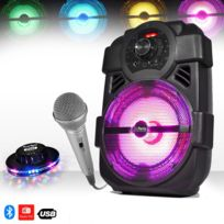 Party Sound - Enceinte mobile Karaoke batterie 250W à Led Usb/BLUETOOTH/FM + Jeu lumière Ovni + Micro